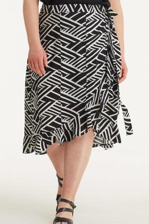 wikkel rok met grafische print zwart/wit