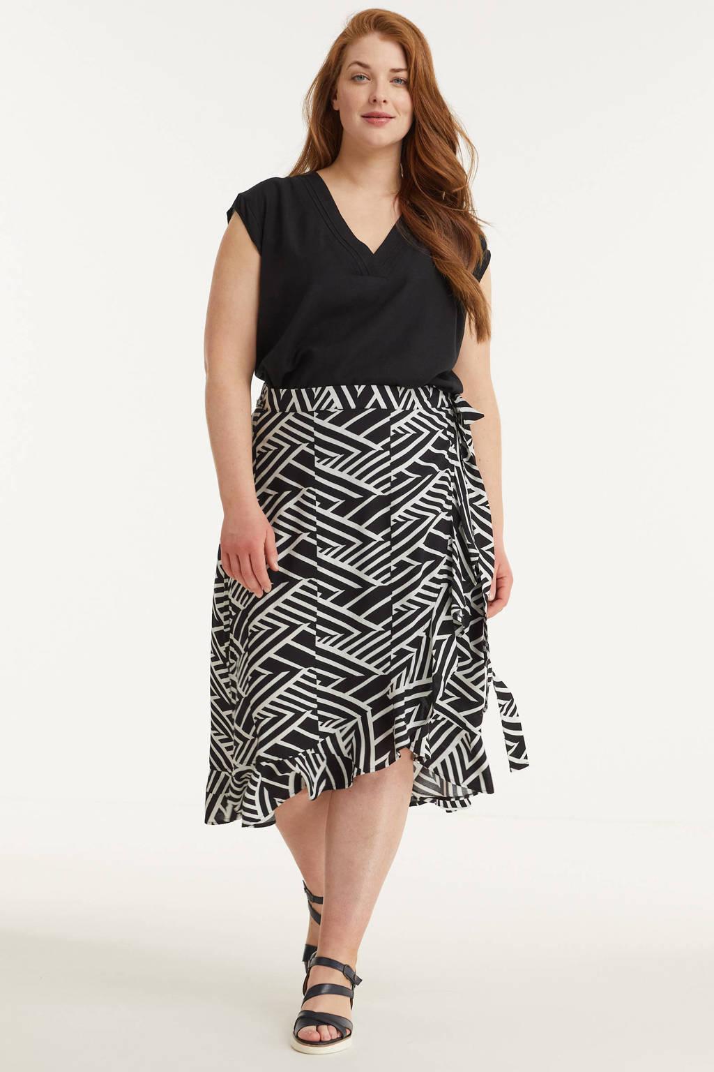 GREAT LOOKS wikkel rok met grafische print zwart/wit, Zwart/wit