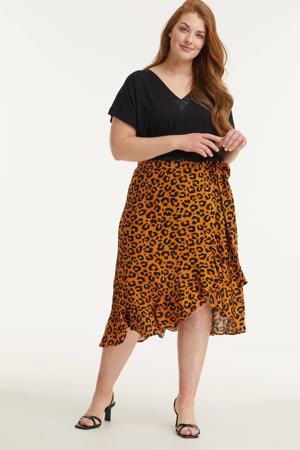 wikkelrok met animalprint oranje/zwart