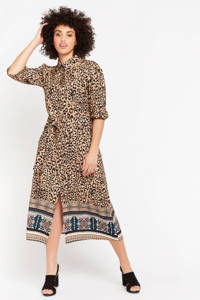 LOLALIZA maxi jurk met dierenprint bruin, Bruin