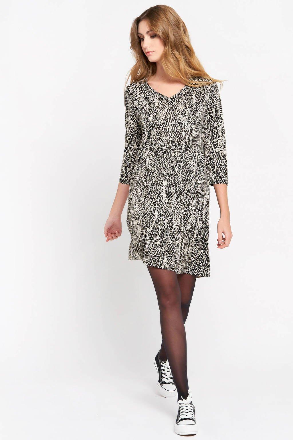 LOLALIZA jurk met dierenprint zwart/wit, Zwart/wit