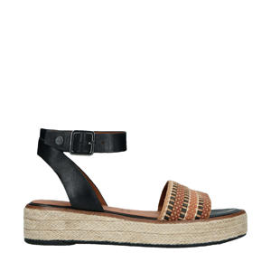 leren sandalen zwart/bruin