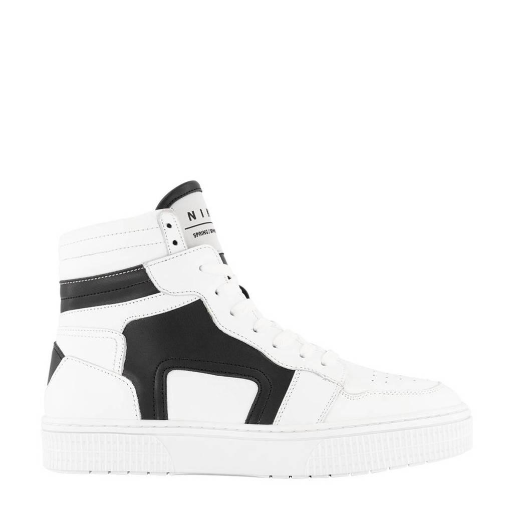 NIKKIE Livia  hoge leren sneakers wit/zwart, Wit/zwart