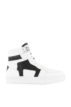 Livia  hoge leren sneakers wit/zwart