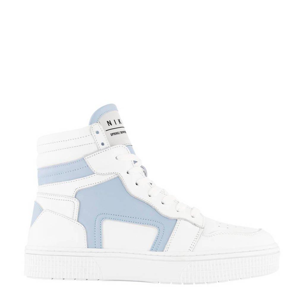 NIKKIE Livia  hoge leren sneakers wit/lichtblauw, Wit/lichtblauw