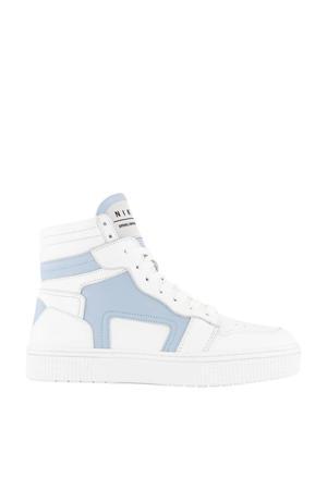 Livia  hoge leren sneakers wit/lichtblauw