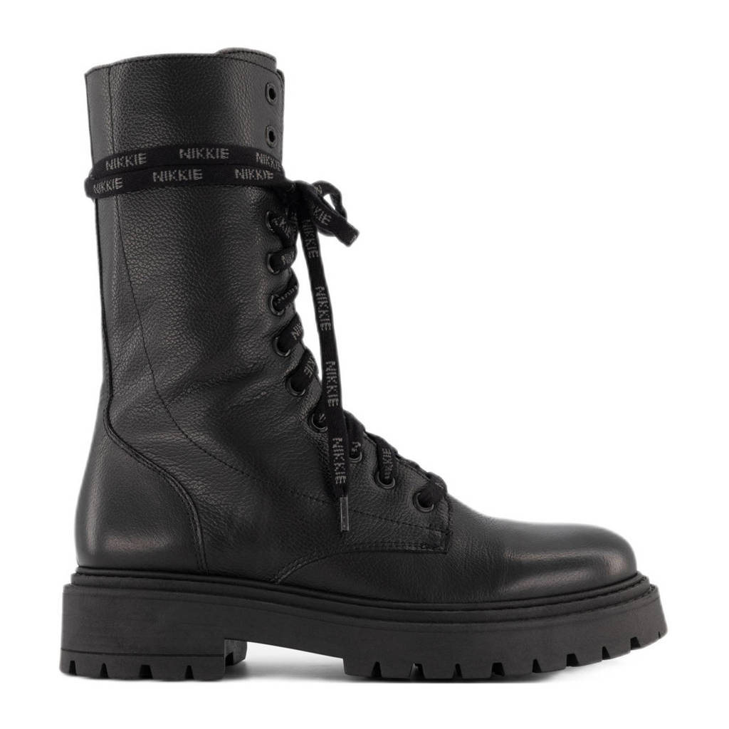 NIKKIE Dewie Boots  leren veterboots zwart, Zwart