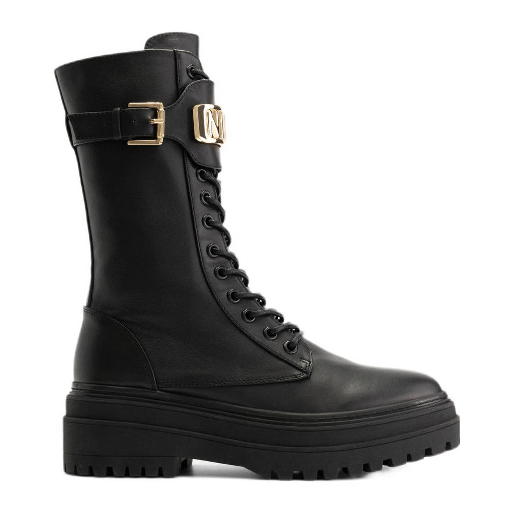 NIKKIE Lynn Boots  leren veterboots zwart/goud, Zwart/goud