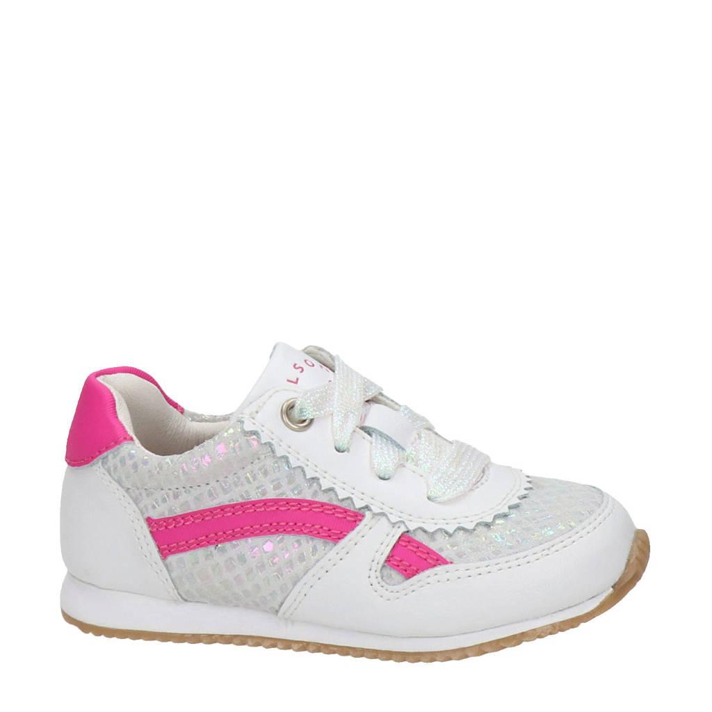 Nelson Kids   leren sneakers wit/roze, Wit/Roze/Metallic