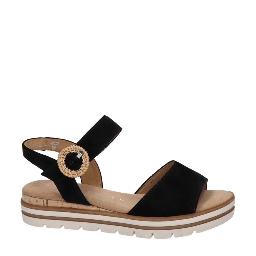 Gabor   suède sandalen zwart, Zwart