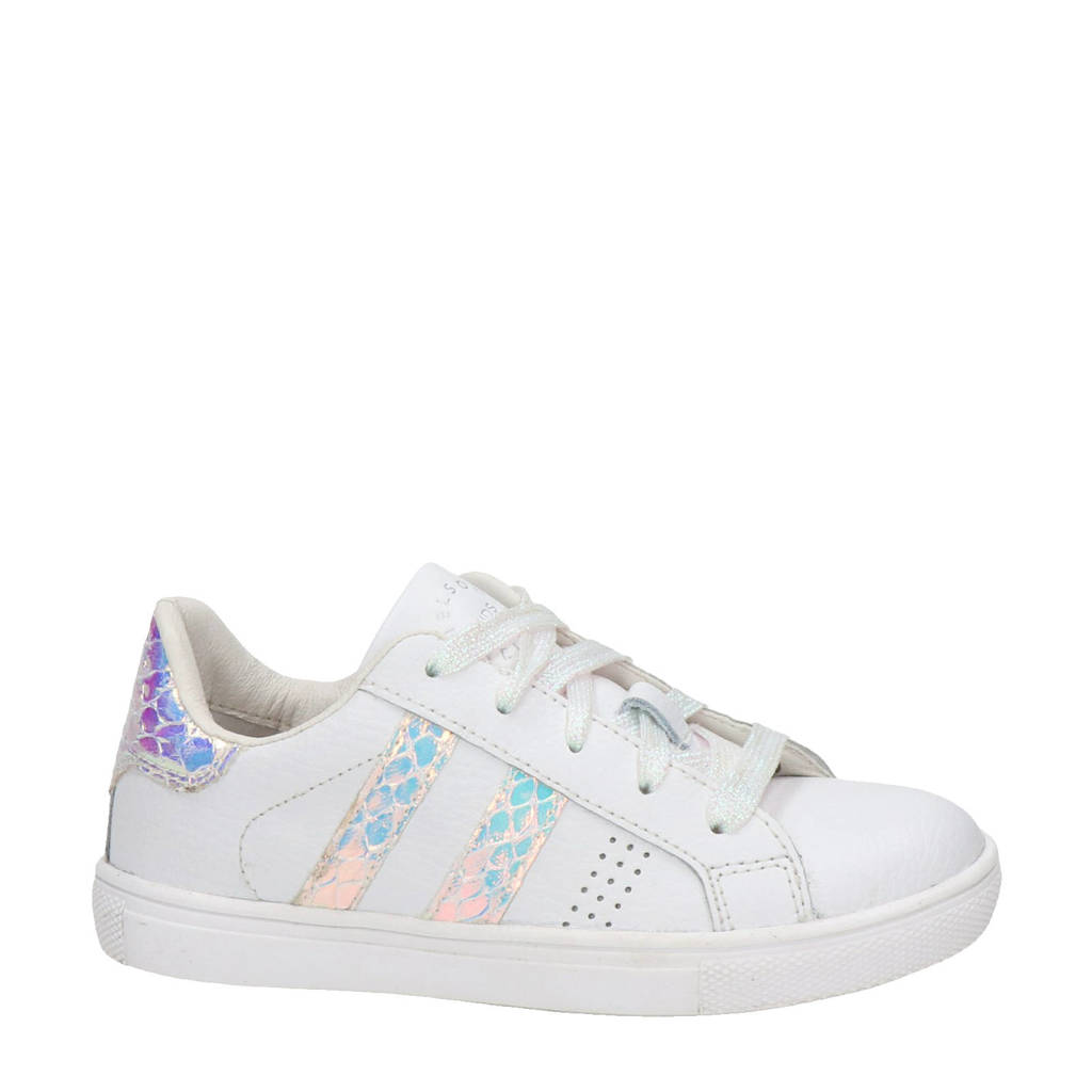 Nelson Kids   leren sneakers wit/metallic