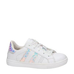 leren sneakers wit/metallic