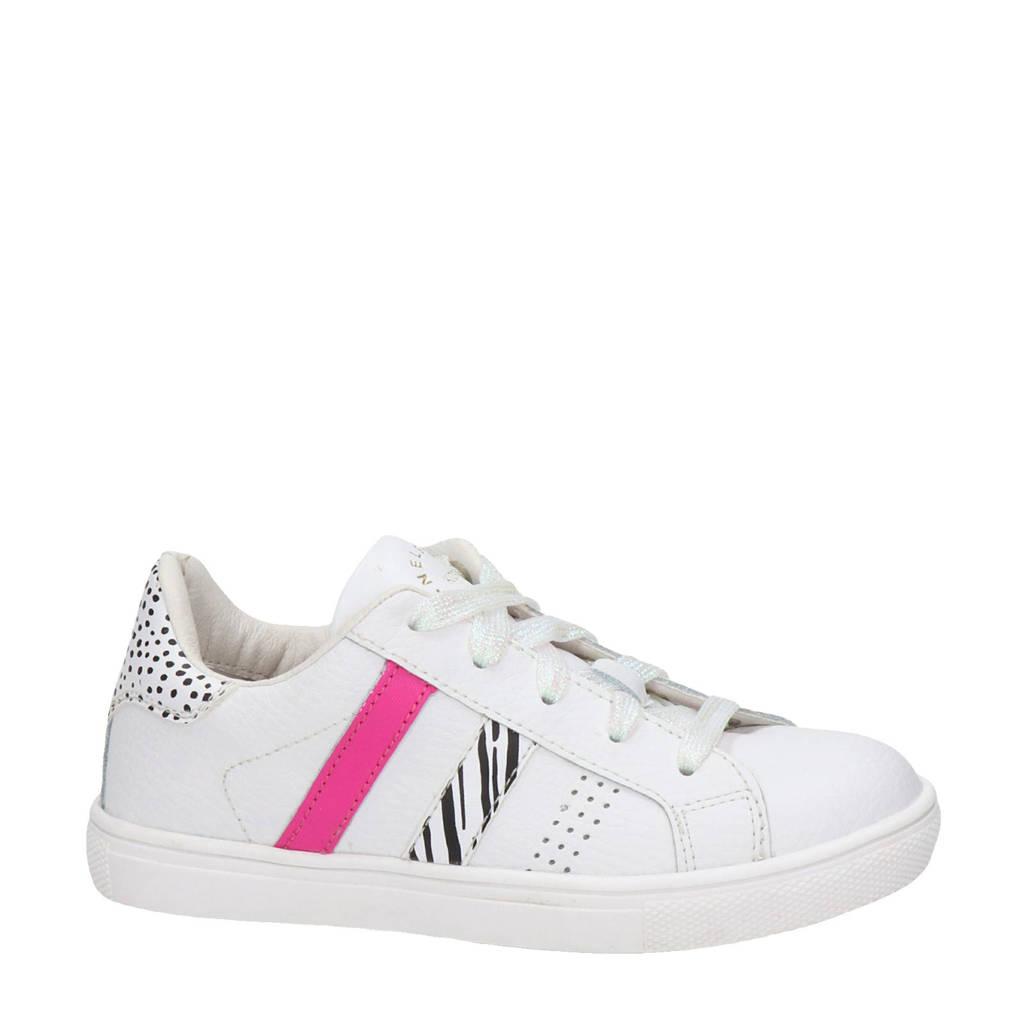 Nelson Kids   leren sneakers wit/roze/zwart, Wit/roze/zwart
