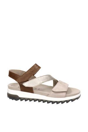 Florenz  leren sandalen bruin/multi