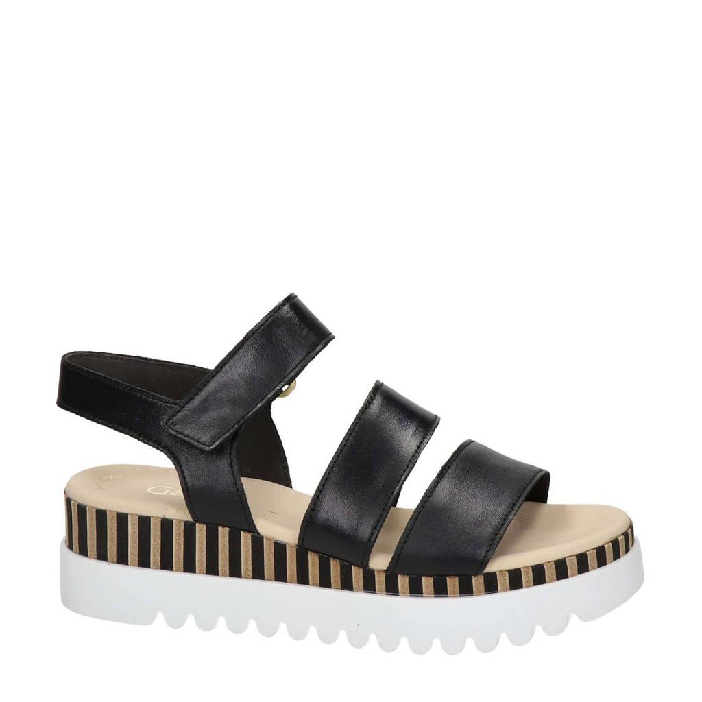 Gabor   leren sandalen zwart, Zwart