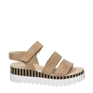 suède sandalen beige