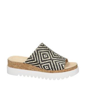 plateau slippers zwart/wit