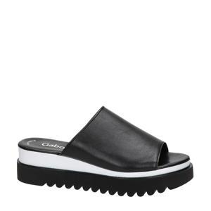 leren plateau slippers zwart