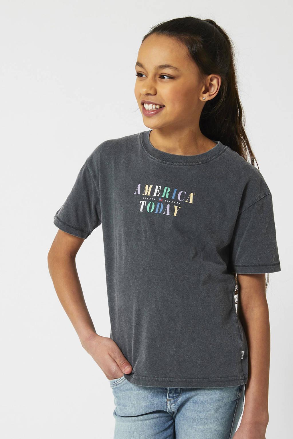 America Today Junior T-shirt met logo verwassen grijs, Verwassen grijs