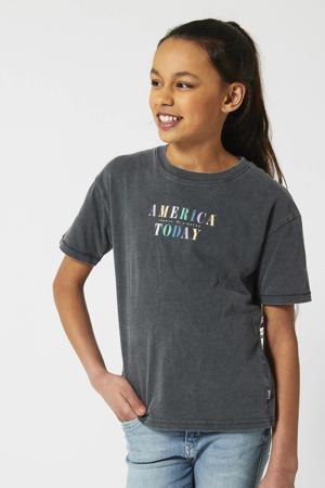 T-shirt met logo verwassen grijs