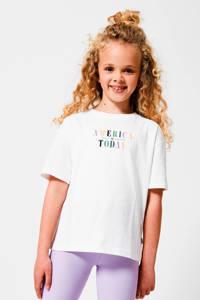 America Today Junior T-shirt met logo ecru, Ecru