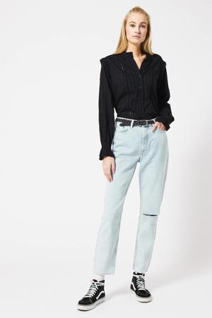 semi-transparante blouse met ruches zwart