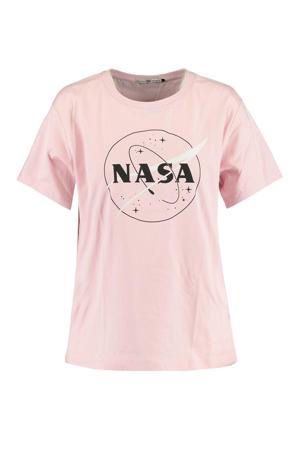 T-shirt met printopdruk lichtroze/zwart/wit