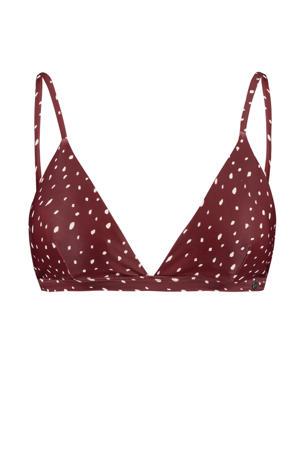 triangel bikinitop Audrey met all over print brique/wit
