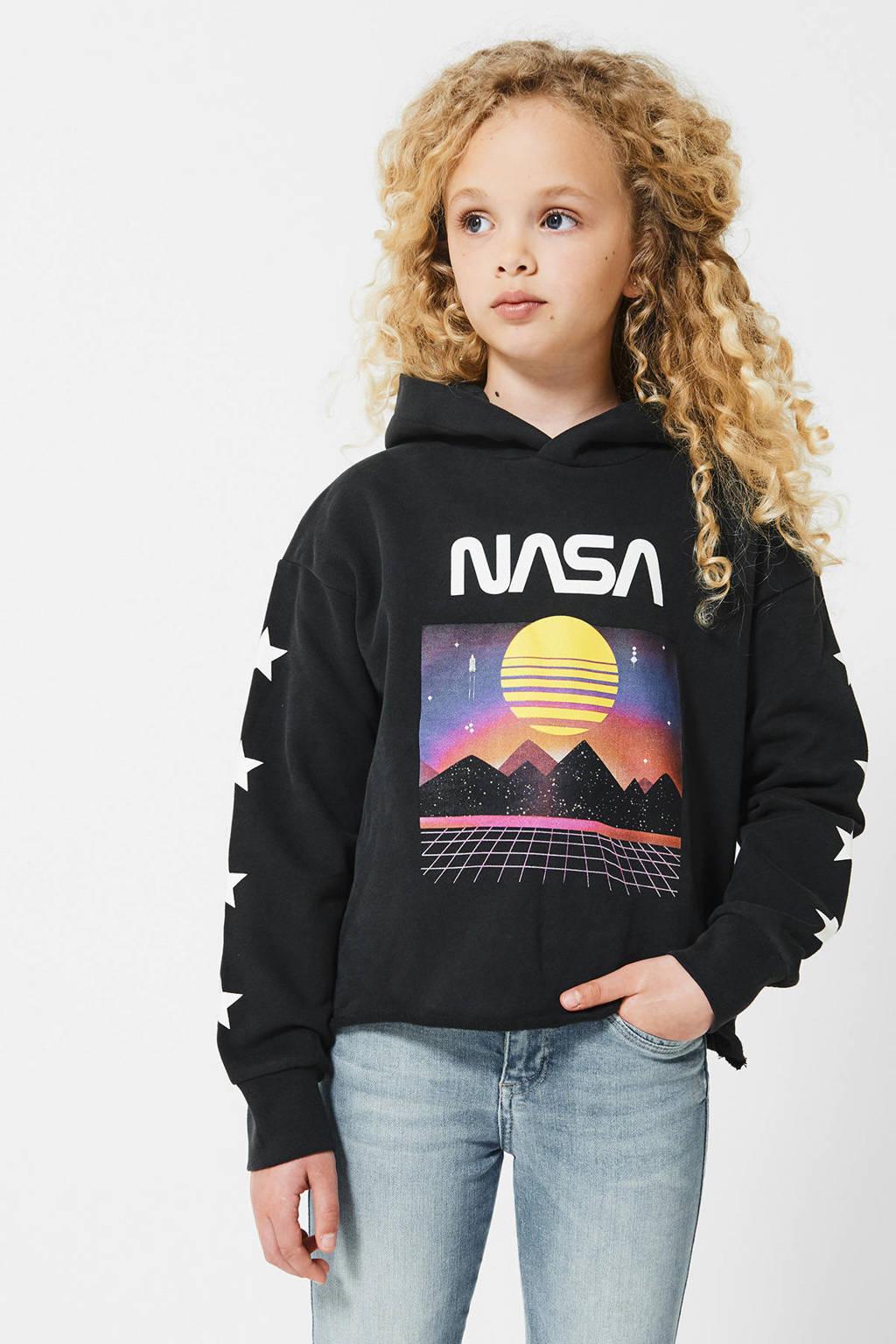 America Today Junior hoodie met printopdruk verwassen zwart, Verwassen zwart