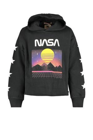 hoodie met printopdruk verwassen zwart