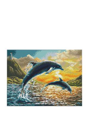 Dolphin Sunset 32x42 cm