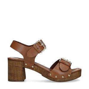 leren sandalettes met studs cognac