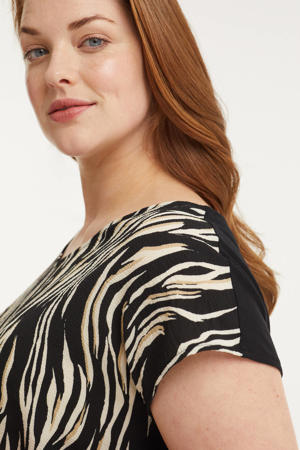 top met all-over zebra print zwart/wit/beige