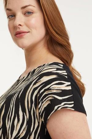 top met all-over zebra print zwart/wit/beige