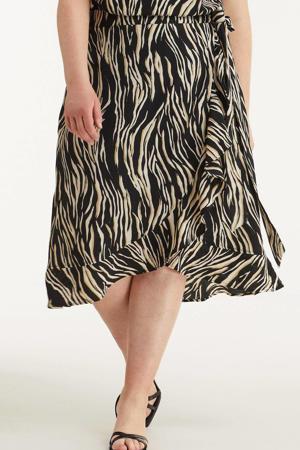 wikkelrok met zebra print zwart/wit/beige