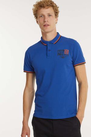 regular fit polo met contrastbies blauw