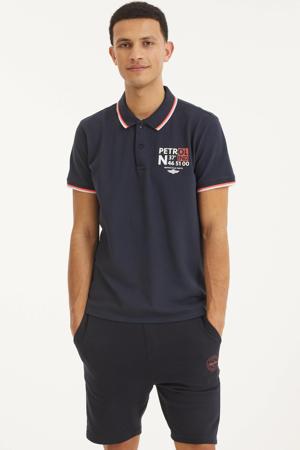 regular fit polo met contrastbies donkerblauw