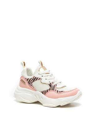 chunky sneakers met zebraprint roze