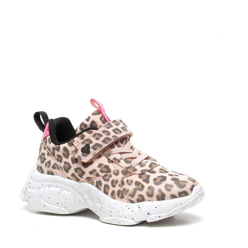 Scapino Blue Box   chunky sneakers met panterprint beige/roze, Beige/roze