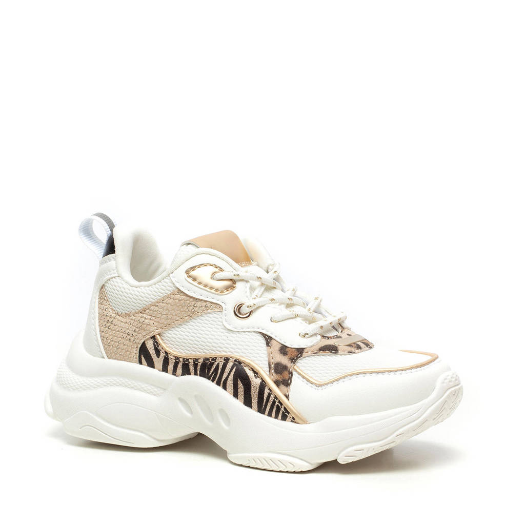 Scapino Blue Box   chunky sneakers met zebraprint wit/goud, Wit/goud