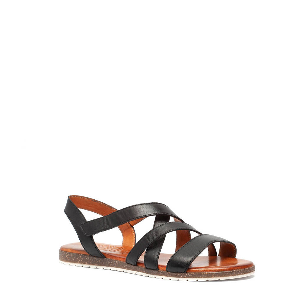 Scapino TwoDay   leren sandalen zwart, Zwart