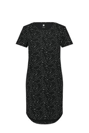 nachthemd met all over print zwart