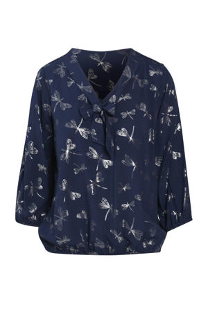 blouse met all over print marine