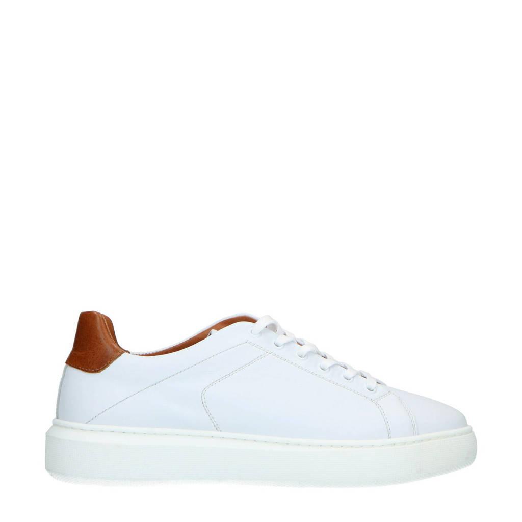 Manfield   leren sneakers wit/cognac, Wit/Cognac
