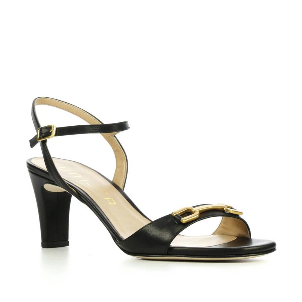 Unisa Masara  leren sandalettes zwart, Zwart