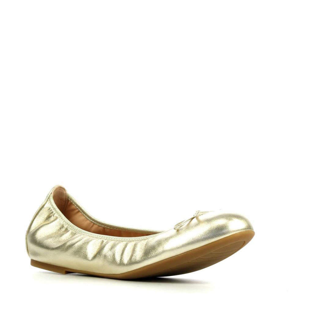Unisa Acor  leren ballerina's goud, Goud