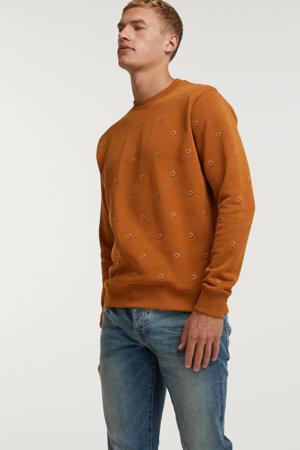 sweater met all over print brique