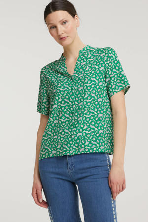 blouse VIMINA met all over print groen