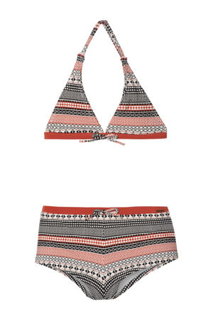 triangel bikini Koski met all over print zwart/rood