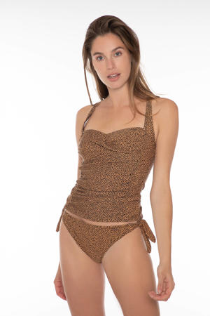 tankini bikinitop Femme B-cup met all over print lichtbruin/zwart